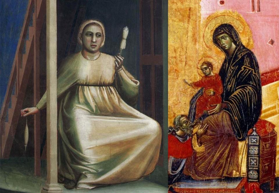 Left: Giotto. Annunciation to Saint Anne. Fragment. Right: Guido da Siena (Italian master). Adoration of the Magi. 1275-1280.