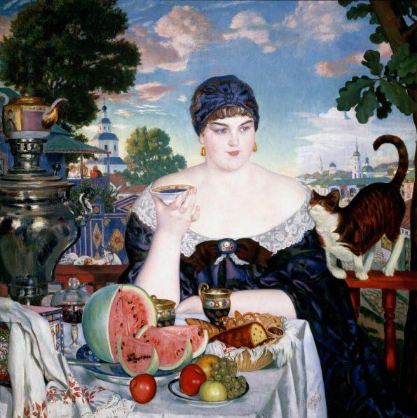 Boris Kustodiev. Merchant's Wife at Tea.
