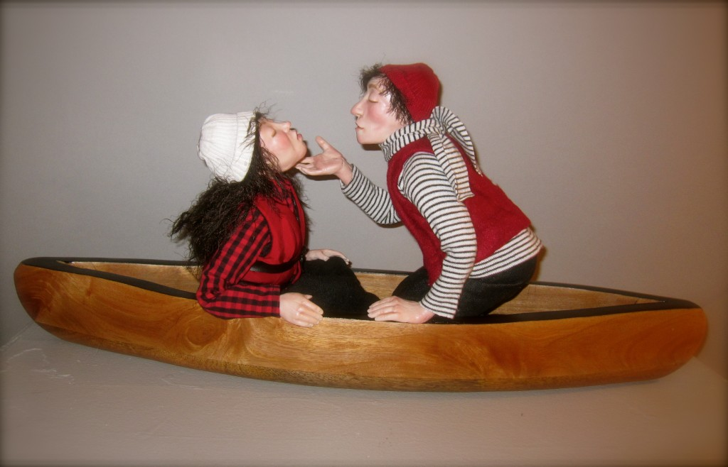 Canoedelling Maria Saracino (2014) Polymer clay, textiles, wood and wire 24 x 11 x 6""