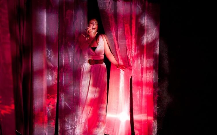 Kristin Santangelo performing in HETEROTOPIA, photo by Philip Doyle