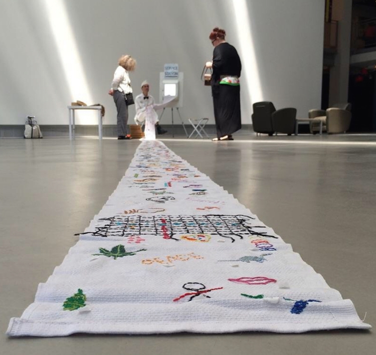 Installation view of William Chambers' SERVICE STATION (2016), an interactive embroidery installation