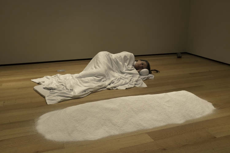 Marilyn Arsem performing at the Museum of Fine Arts, Boston, photo by Mark Solinsky.