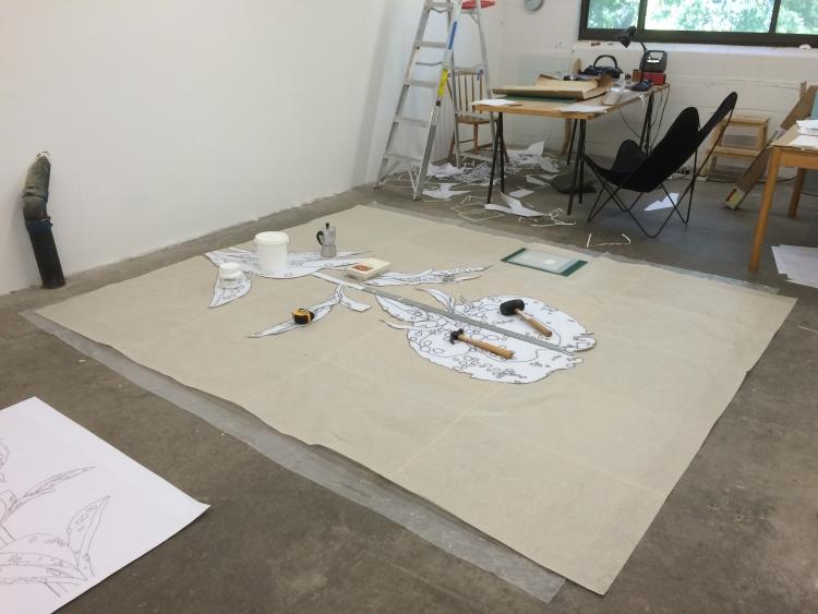 Work-in-progress in Meg Alexander's studio
