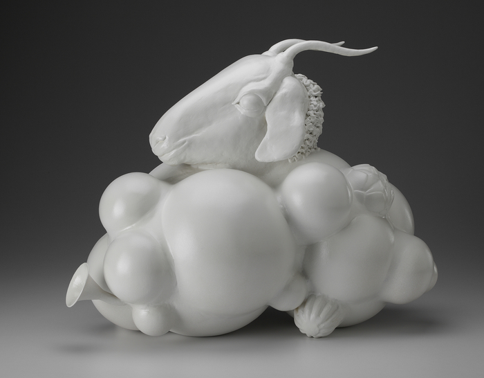 Dana Filibert, BILLY (2012) steel, found objects, carved foam, epoxy, 18x17x10 in