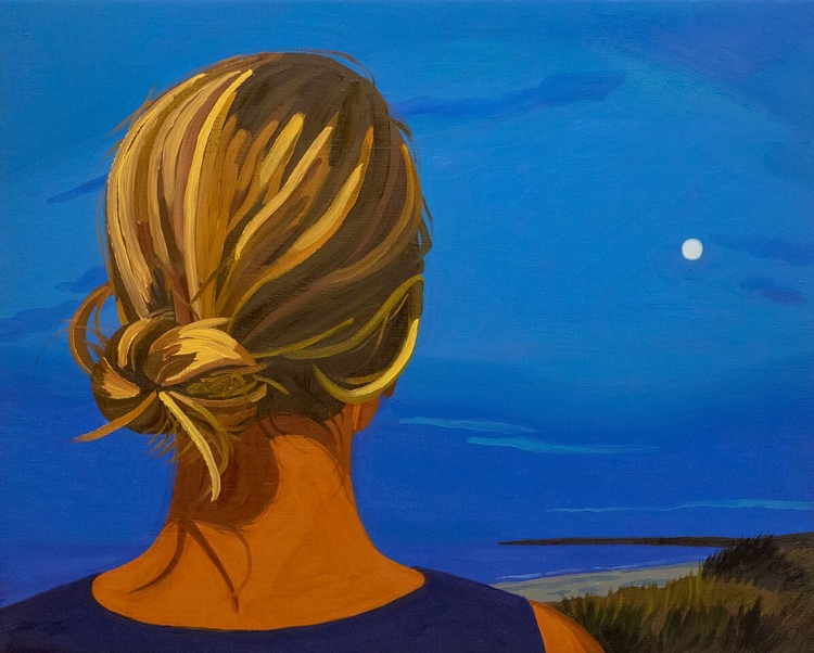 Helena Wurzel, THE BACK OF CHRISTINA'S HEAD (2018), oil on canvas, 16x20 in.