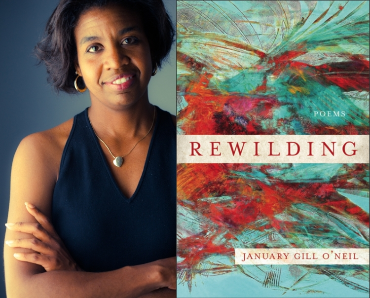 January O'Neil, photo by Rachel Eliza Griffiths; cover art for REWILDING (CavanKerry Press, 2018).