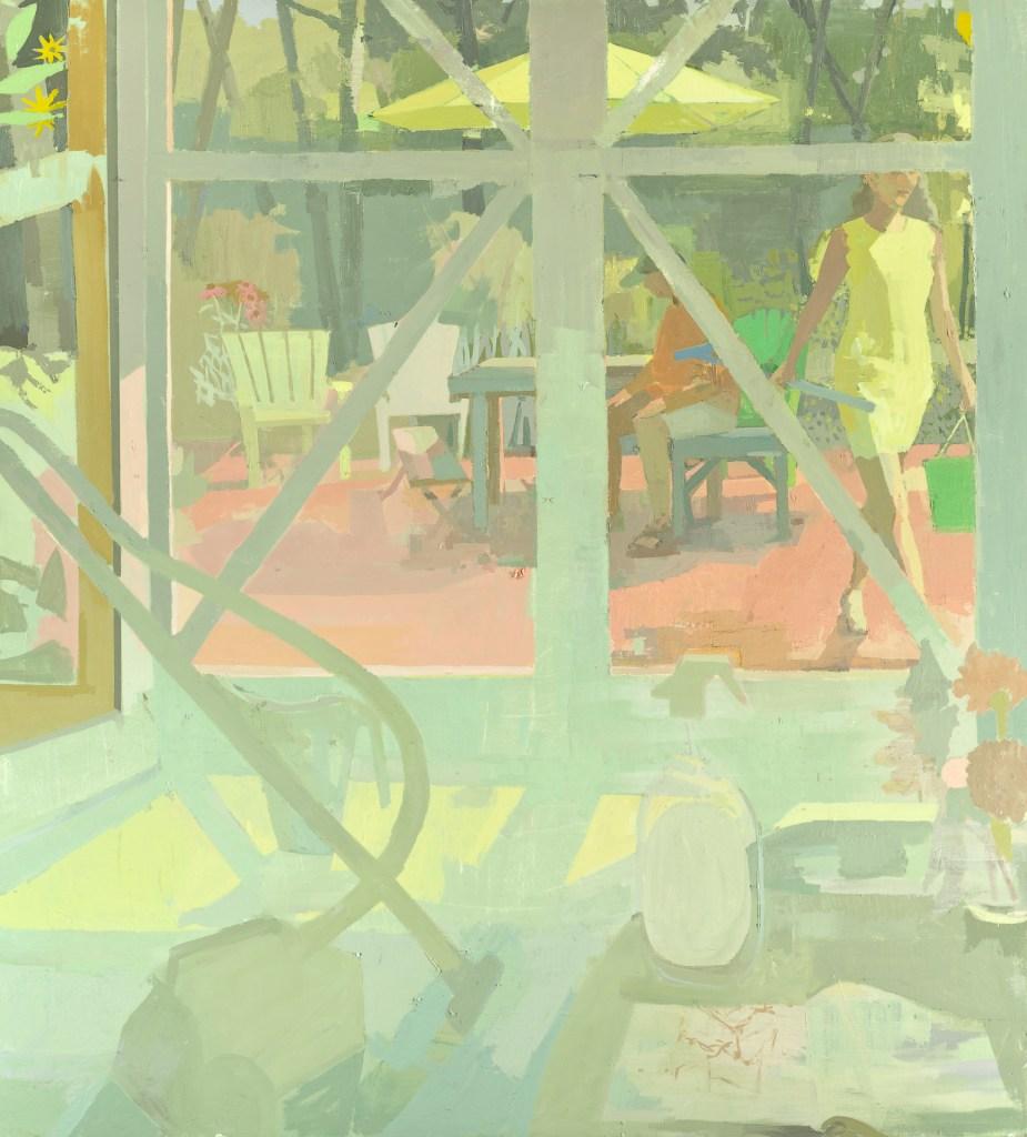 Susan Lichtman (Painting Fellow '18), STUDIO DOORS WITH VACUUM (2016), oil on linen, 64x58 in.