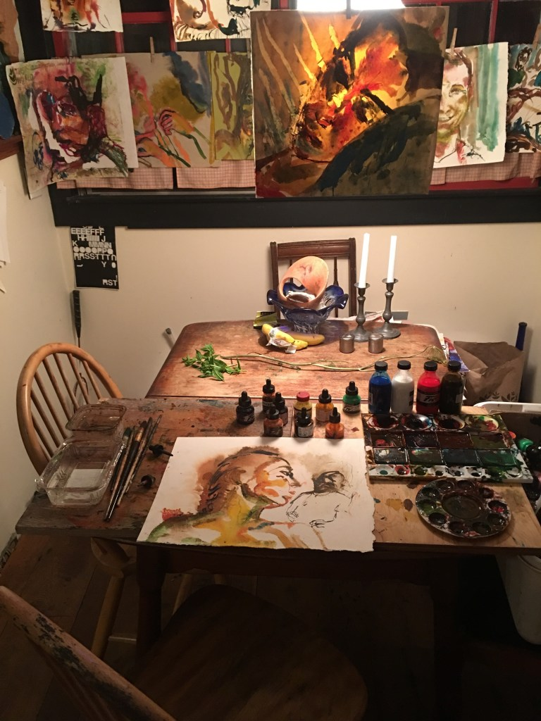 Art-making occupies the dining room of artist Richard Limber.