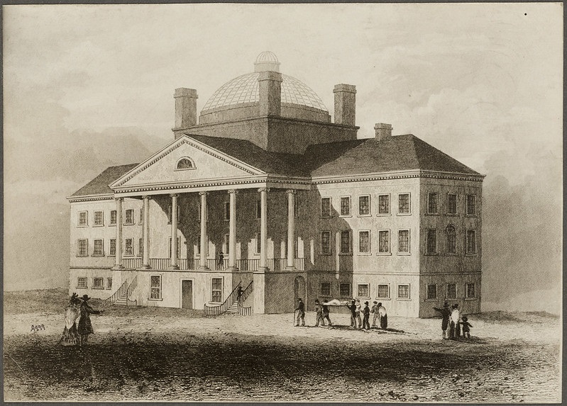 Print from an etching of Massachusetts General Hospital, from the Boston Public Library Flickr Page.