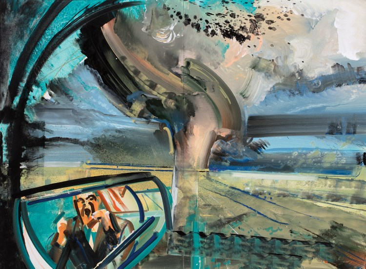David Brewster (Painting Fellow '20), AMERICAN SORROW: CHASING TRUMPS TORNADO (2017), oil on mi-teintes, 47x64x2 in.