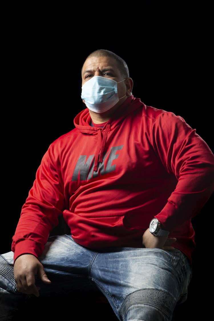 """Jose Duran, from the MASKS OF BOSTON project by Katherine Taylor. """"I wear a mask for everyone... my stepson has asthma, I want to be clear of catching it."""""""