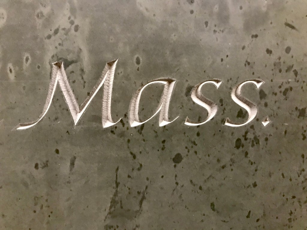 Letter carving by Jesse Marsolais, photo by Maggie Holtzberg.