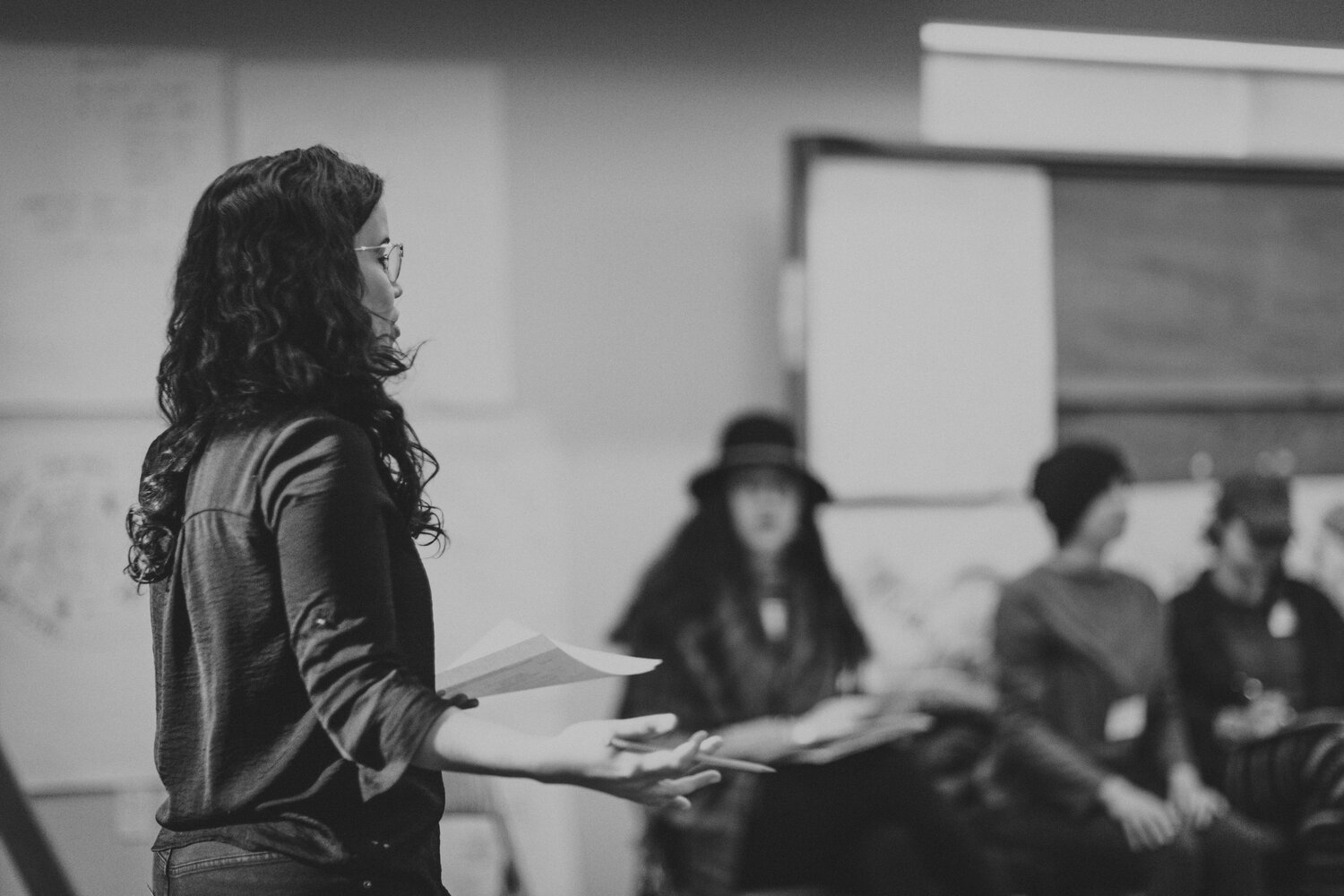 Shey Rivera Ríos at an Assets for Artists workshop in January 2020, photo by Erin Long Photography.
