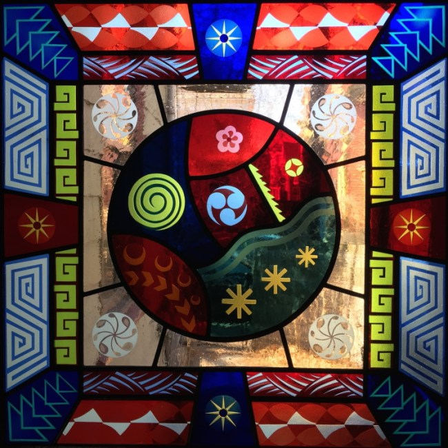 Kate Gakenheimer (Crafts Fellow '21), DECO CIRCLE (2018), stained glass, 23x23x2 in.