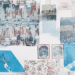 Detail of Robert Rauschenberg, HEARTS (SPREAD) (1979), solvent transfer, fabric collage, graphite, Plexiglas boxes, and electric lights on wood panels; private collection; Copyright: Robert Rauschenberg Foundation.