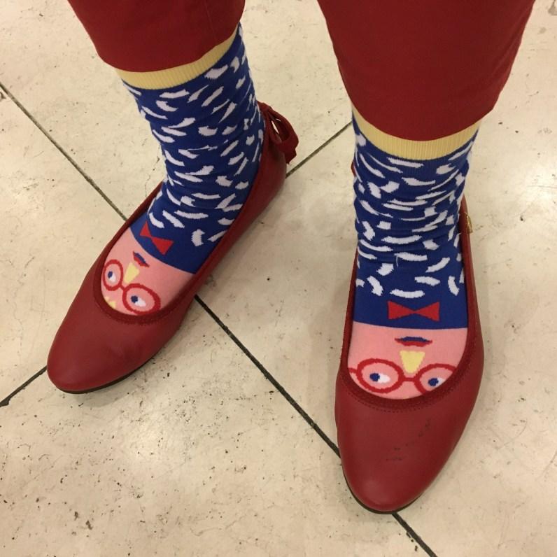 Colourful Agnieszka in Hockney socks