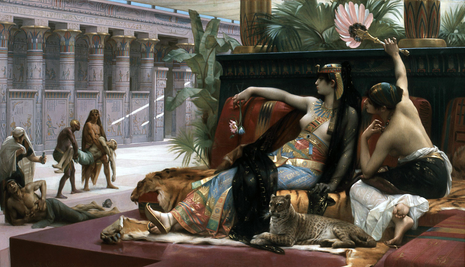 Romantic painting of Cleopatra testing poison on prisoners