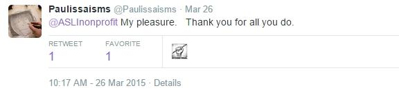 Tweets to ASLI