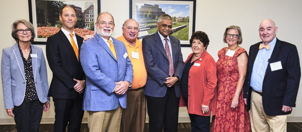 2018 Alumni and Philanthropy Award recipients.  Photo: left to right Dr. Wanda Rushing, Clayton McDonald, Dr. Charlie Penley, Dr. Don Denbo, Dr. Shan Shanmugam, Judi Herbert, Dot and Ron Gratz (accepted on behalf of Alan Gratz)