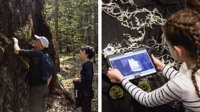 """The structure of our reality is based on dynamic networks that are in constant interactions: from neural networks to the World Wide Web, from the natural circulatory systems, the Wood Wide Web, to social, economic and cultural phenomena. Picture on the left: Rhizosphere fieldworks in Białowieża, photo by Jadwiga Subczyńska. Picture on the right: """"Mikoryzator"""" interactive installation by Maria Subczyńska & Piotr Słomczewski."""