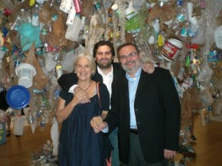 Mentor Artist Betsy Damon with project volunteers, David Vaina and Ozzie Monzon during the Living on the Edge Exhibit Opening