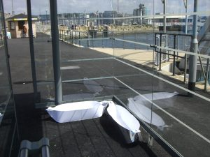 Boats in  bus shelter