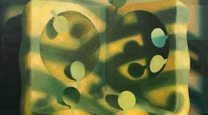 Benedict Rubbra. Landscape with opening seed pod. 55x65cm. Oil on canvas 1990.