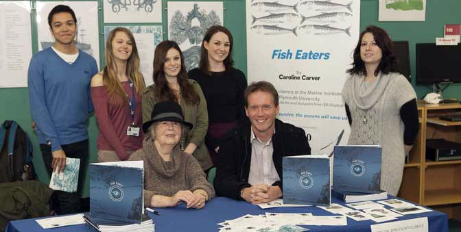 Caroline Carver with Professor Martin Attrill and students from the MA Publishing course taken during the launch of Fish Eaters at Plymouth University