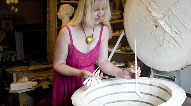 Heather Coleman at her kiln