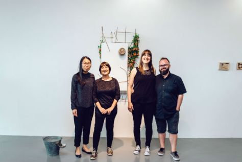 L to R - The Gallery at Plymouth College of Art acting Exhibitions Manager Zoe Li artist Susan Collis and curators Hannah Jones and Kevin Hunt