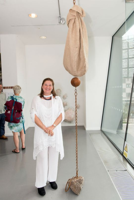 BA Hons Fine Art graduate Sophia Roddan with her work in the BOSS exhibition 2