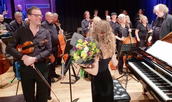 Torbay Symphony OrchestrasChris Eastman (Leader) - Veronika Shoot, receiving flowers, - Richard Gonski (Conductor)