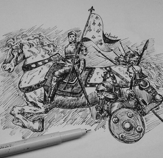 sketch of a knight on a horse