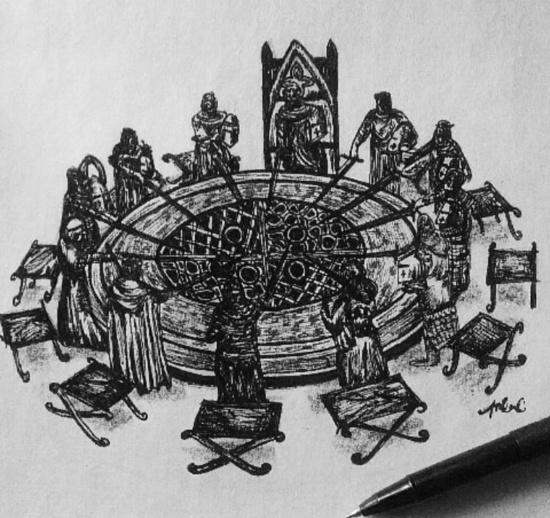 a sketch of knights on the round table