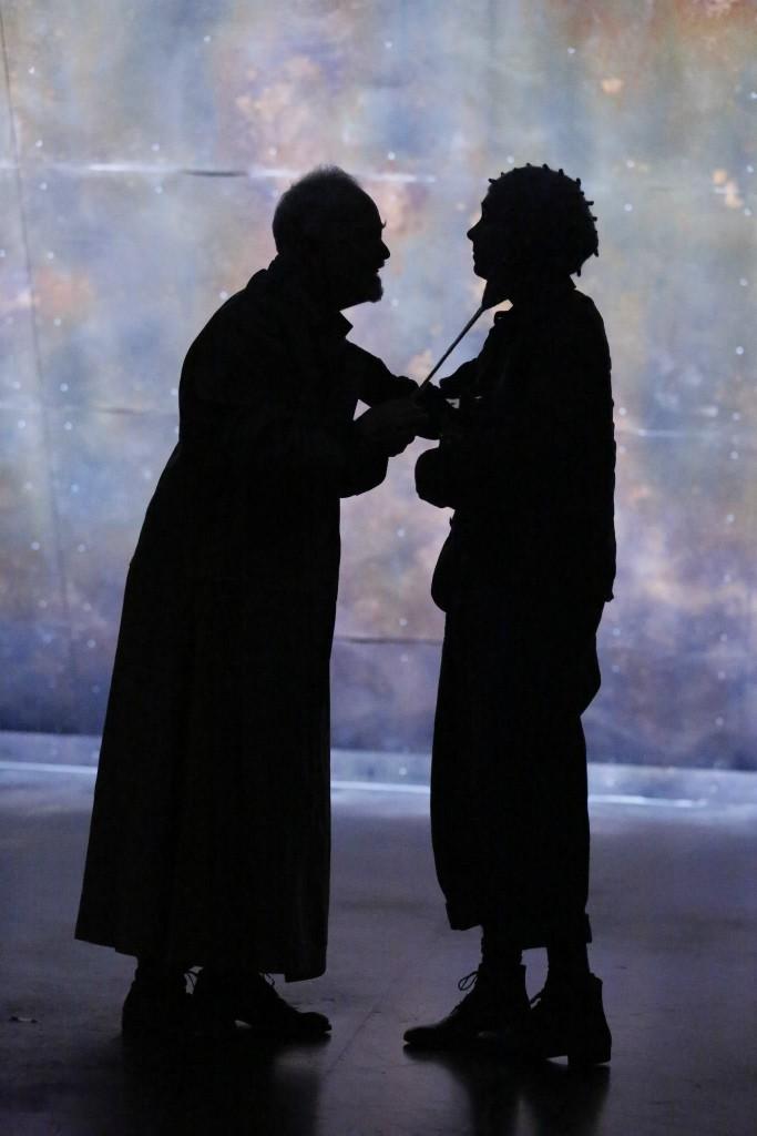 Michael Pennington (Lear) & Jake Horowitz (Fool) in TFANA's production of King Lear. [Photo by Carol Rosegg]
