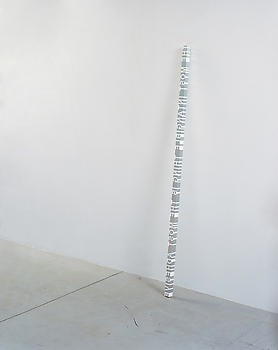 RONI HORN White Dickinson (THE MOST TANGIBLE THING IS THE MOST ADHESIVE), 2006 Aluminum and solid cast white plastic 2 x 2 x 90-1/4 inches (5.1 x 5.1 x 229.2 cm)