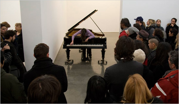 "Mia Elezovic performing in Allora & Calzadilla's ""Stop, Repair, Prepare"" at Gladstone in Chelsea"