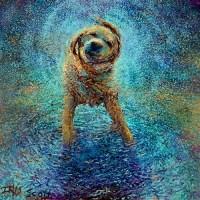 Art Painting - Dog Shaking - Iris Scott