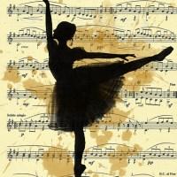 Ink Drawing Ballerina Vintage Sheet Music Autographed Emanuel M. Ologeanu