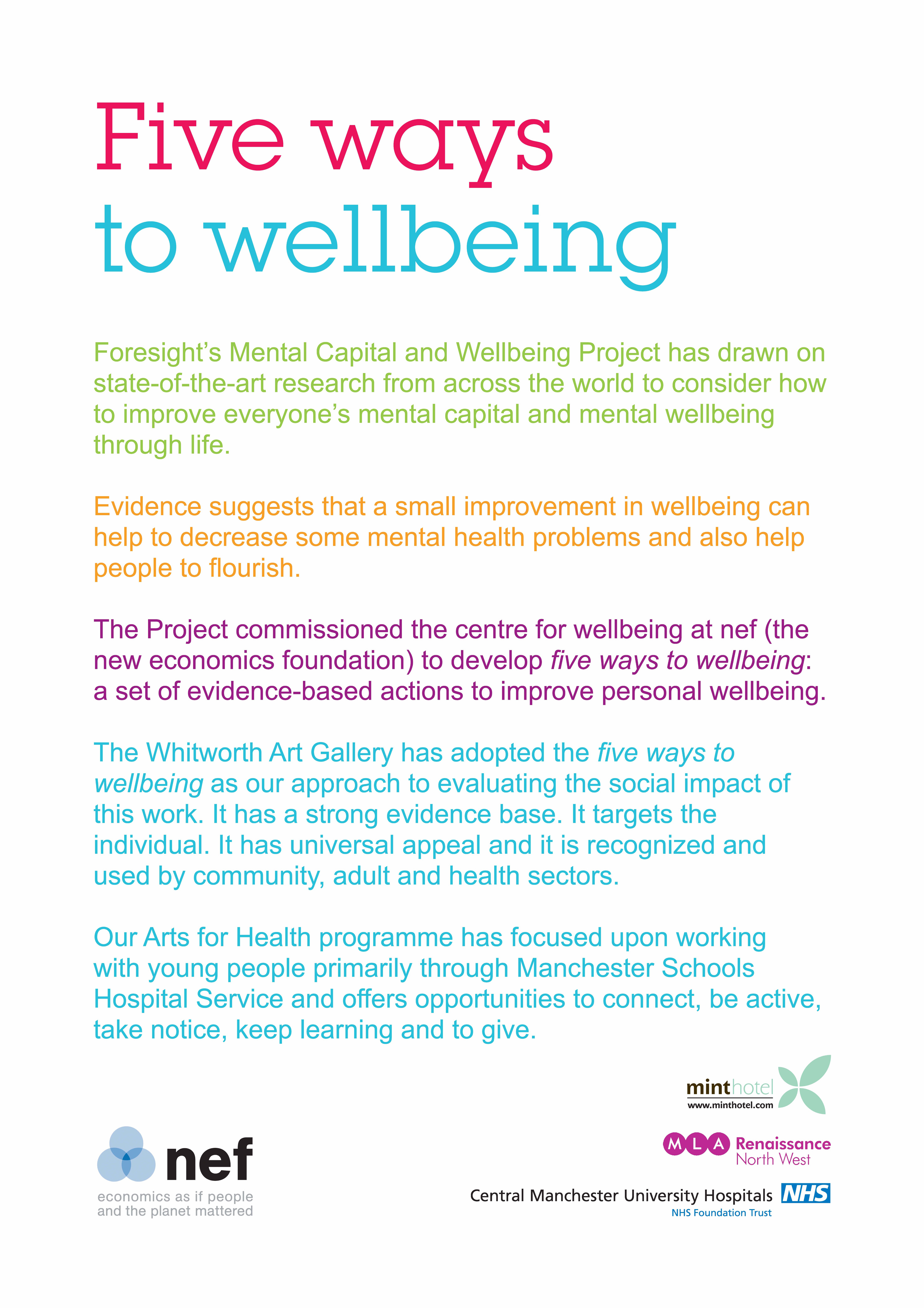 Five Ways To Wellbeing The Whitworth S Programme Of