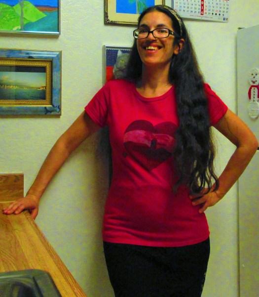 Here I am wearing the Valentine sunset shirt.