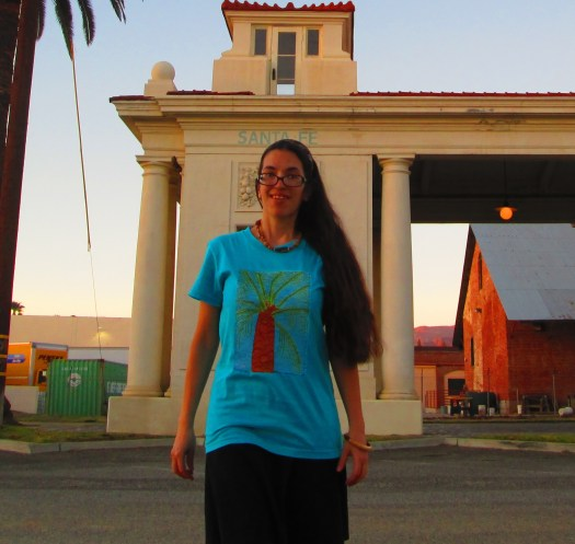 Here I am wearing the palm tree shirt at the Santa Fe Depot.