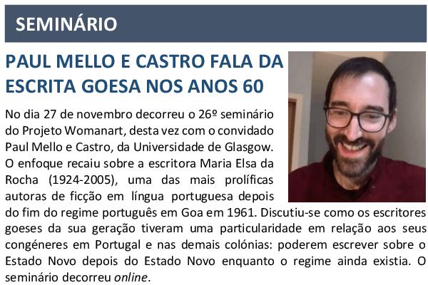 SEMINÁRIO  PAUL MELLO E CASTRO FALA DA  ESCRITA GOESA NOS ANOS 60  O Boletim Inf…