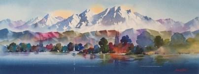 """""""Lake Te Anau"""" Watercolour $1,200"""