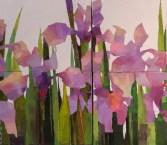 """Irises"" Acrylic on canvas (diptych) $650"
