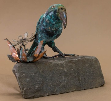 """Kea on a rock"" Recycled metal sculpture $760"