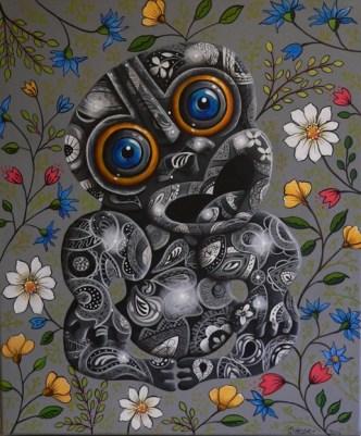 """""""Floral Tiki"""" Acrylic on canvas $600"""