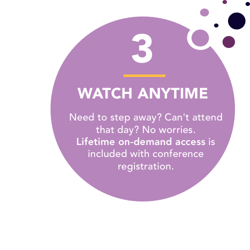 Watch the conference anytime with on-demand viewing