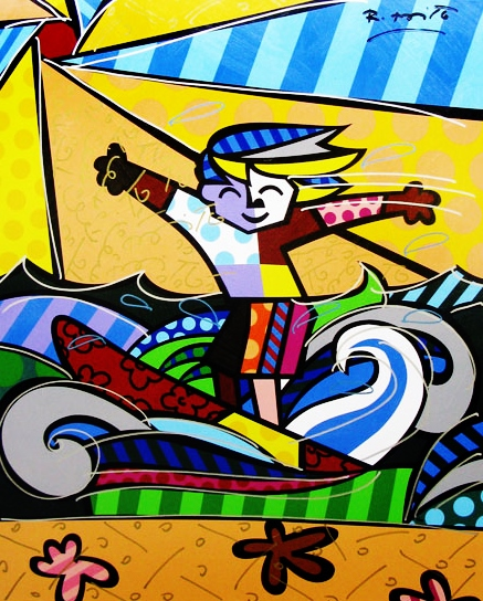 Range of Arts - Romero Britto - Fine Art Prints -Surfer Boy