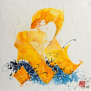 Oil painting and ink by French street artist 2Flui aka Cyril Simon for sale